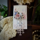 Soft Delicate Blue and Pink Rose Watercolor Pin