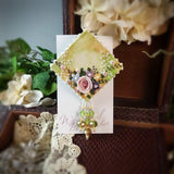 Rich Gold And Green Watercolor Rose Pin