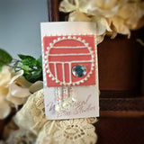 Deep Blush Art Deco Pin