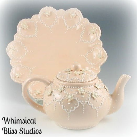 Special Order Only  Day- Lucy's Peach Lace Teapot