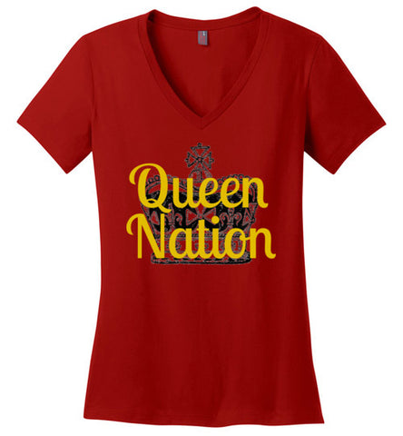 Ladies V-Neck Queen Nation Super Fan Shirt