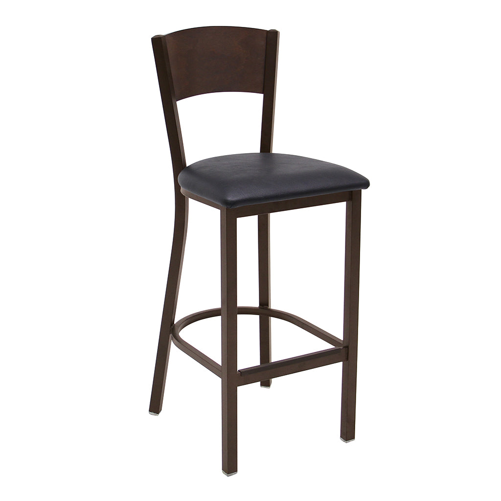 Bordeaux Barstool- Antique Copper Frame with Black Vinyl Seat and Solid Hickory Stained Wood Back