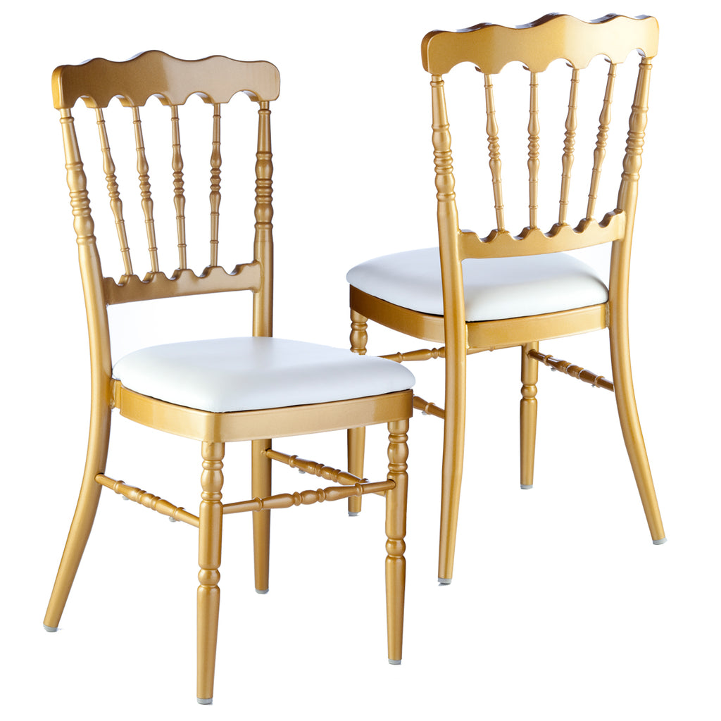 Delicieux ... Aluminum Napoleon Stacking Chair   Gold W/White Cushion
