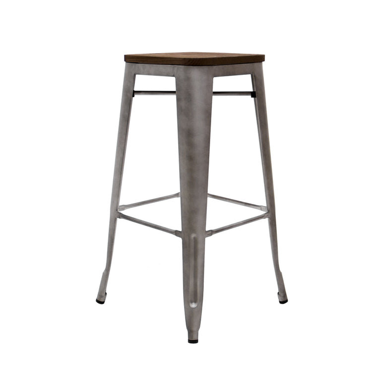 Atlas French Industrial Stool w/Wood Seat