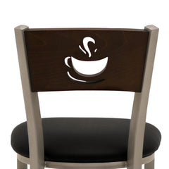Table Height Chair Black Vinyl Dark Walnut Wood Coffee Cup Cutout Back