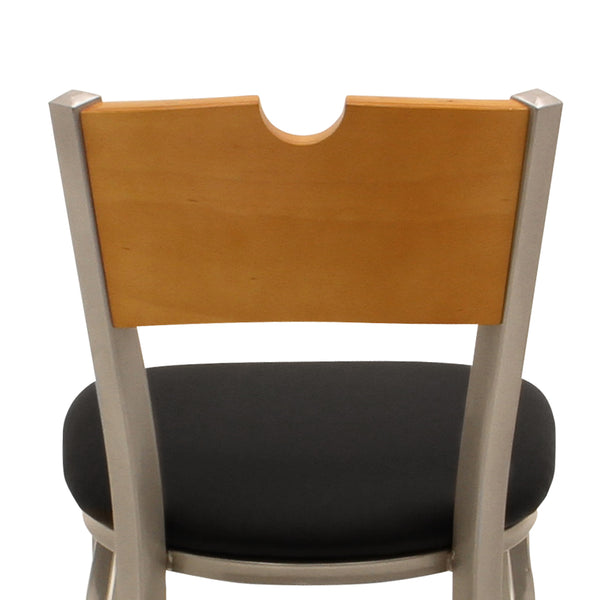 Table Height Chair Black Vinyl Natural Wood Cutout Back