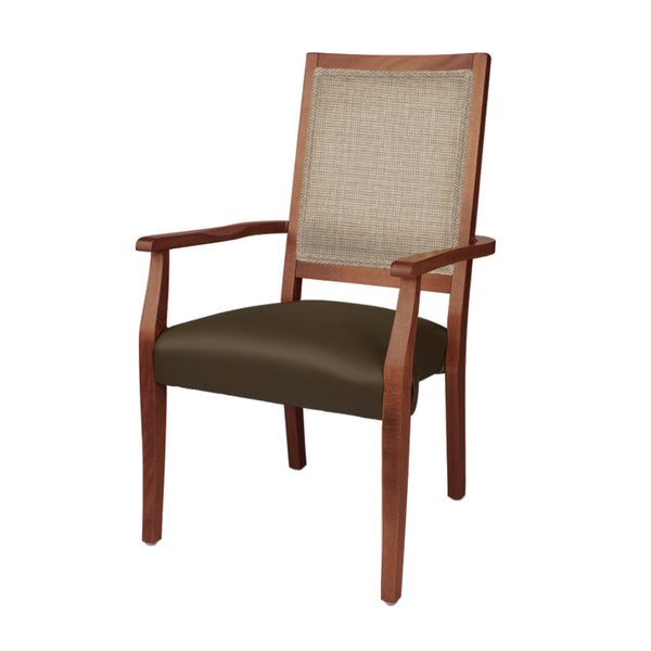 Flora Stacking Arm Chair (Chestnut w/Shire Travertine & Mocha Vinyl)
