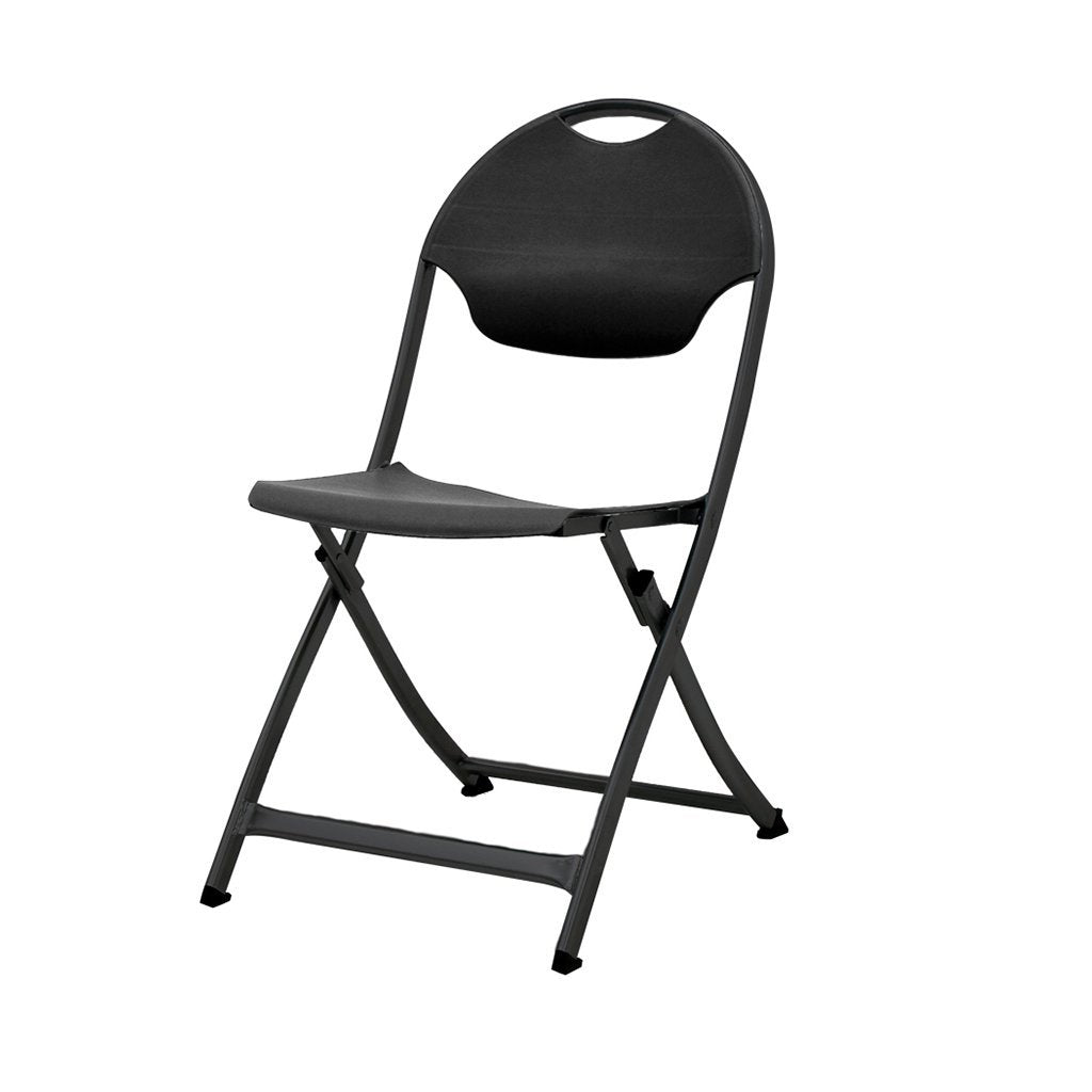 MityLite SwiftSet Folding Chair, Black Frame & Black Seat, Back