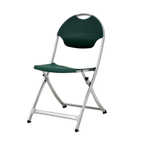 MityLite SwiftSet Folding Chair, Silver Frame & Forest Green Seat, Back