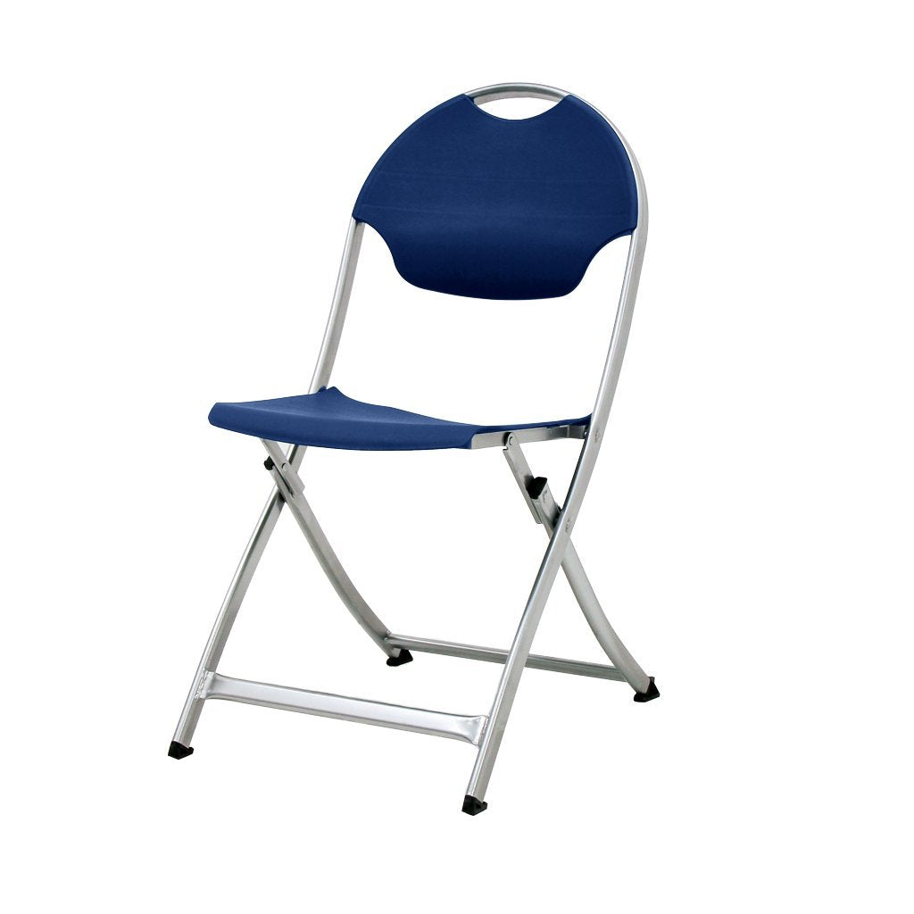 MityLite SwiftSet Folding Chair, Silver Frame & Navy Blue Seat, Back