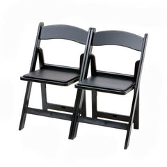 Atlas Folding Resin Chair Ganged - Black