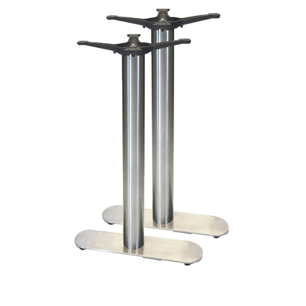 "22"" 4-Prong Table Base - 30"" Height - Stainless Steel"