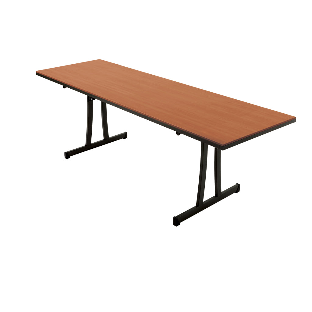 "Reveal 30""x96"" Fixed Rectangular Table Wild Cherry w/Black Sand Frame"