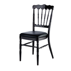 Aluminum Napoleon Stacking Chair - Black w/Black Cushion