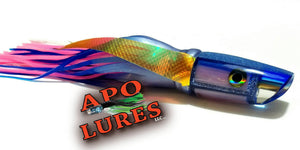 "9"" Apo Lures Ice Blue Pink Glass Olelo Plunger"
