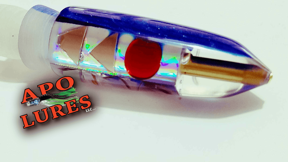 "7"" Apo Lures Blue Pearl Cracked Glass Bullet (Naked)"
