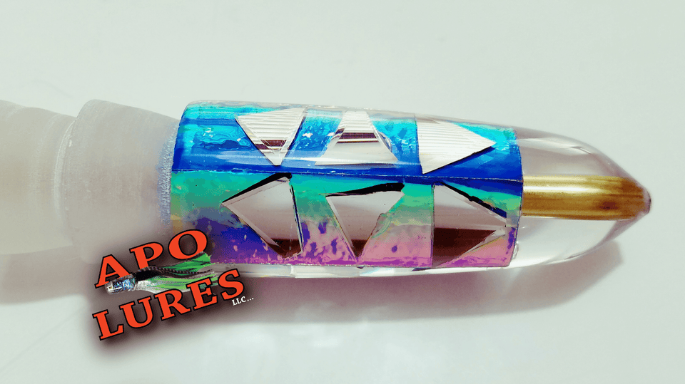 "7"" Apo Lures Rainbow Cracked Glass Bullet (Naked)"