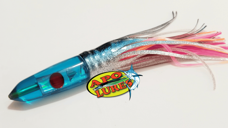 "7"" Apo Lures Tru Blue Cracked Glass Bullet"