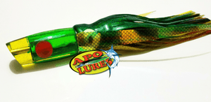 "9"" Apo Lures Bright Yellow/Green Glitter Slant Face"