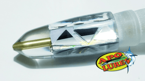 "9"" Apo Lures White Prism Cracked Glass Bullet (Naked)"