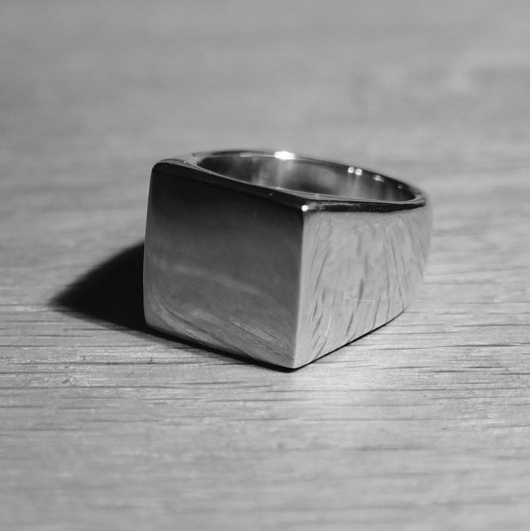 Large Square Mens Signet ring silver