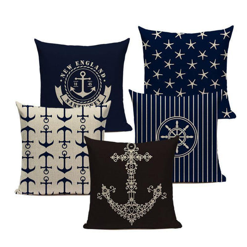 Rustic Navy Blue Marine Inspired Cushion Covers