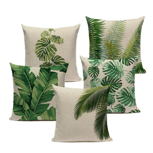 Green Leaf Cushion Covers - Decor Devotion