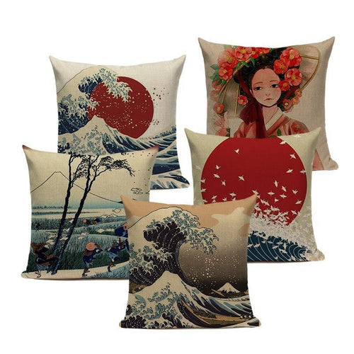 Oriental Japanese Art Style Cushion Covers