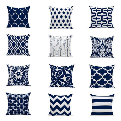 Elegant Navy Blue Patterned Cushion Covers - Decor Devotion