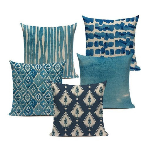 Blue Watercolour Cushion Covers - Decor Devotion