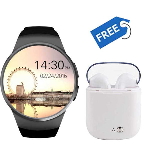 Y1S Smart Watch with Camera + Sports Edition Twins Wireless EarPods (Dual Optical Sensors | Android & IOS Compatibility)