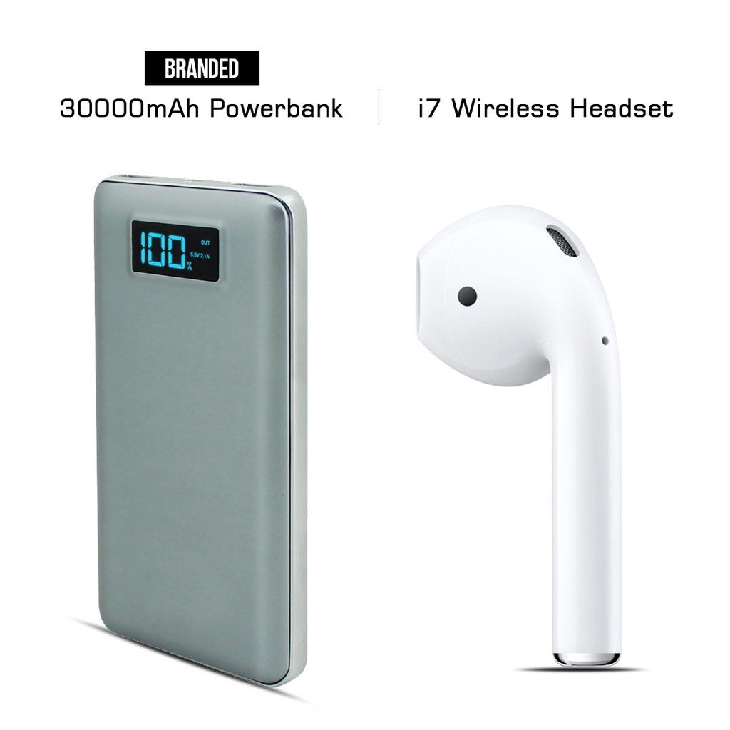 Buy Online 30000mAH Branded Power Bank & Get  I7 Bluetooth Headset Free