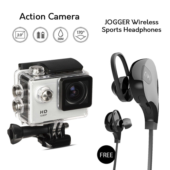 Full HD Wifi Action Sports Camera with Bluetooth Headset