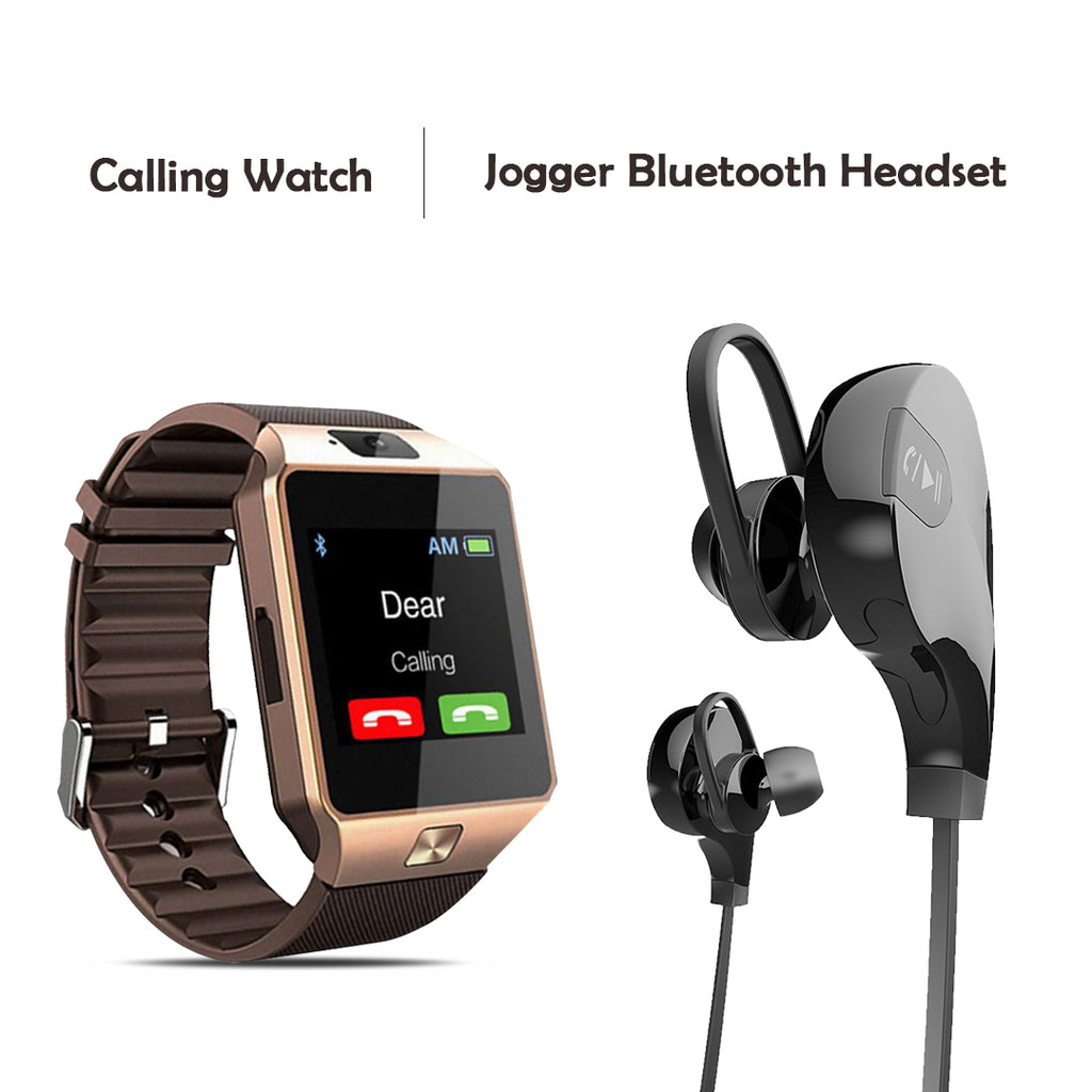 Calling Watch With Free Sports JOGGER Wireless Bluetooth Headset