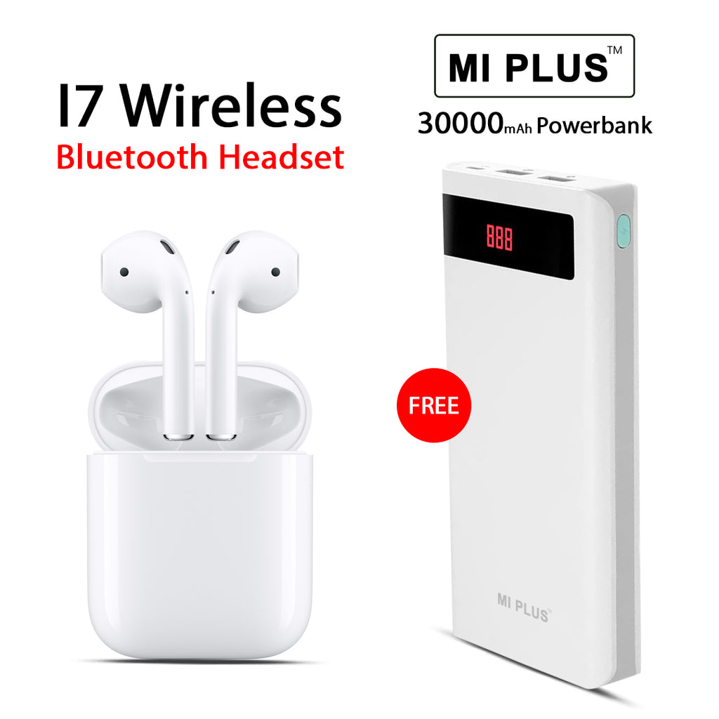 8b0480cb0cc Buy Online I7 Wireless Bluetooth Headset And Get MI Plus 30000mAh Free