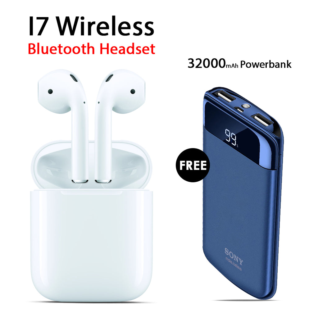 Buy Online I7 Wireless Bluetooth Headset And Get Sony 32000mAh Power Bank Free
