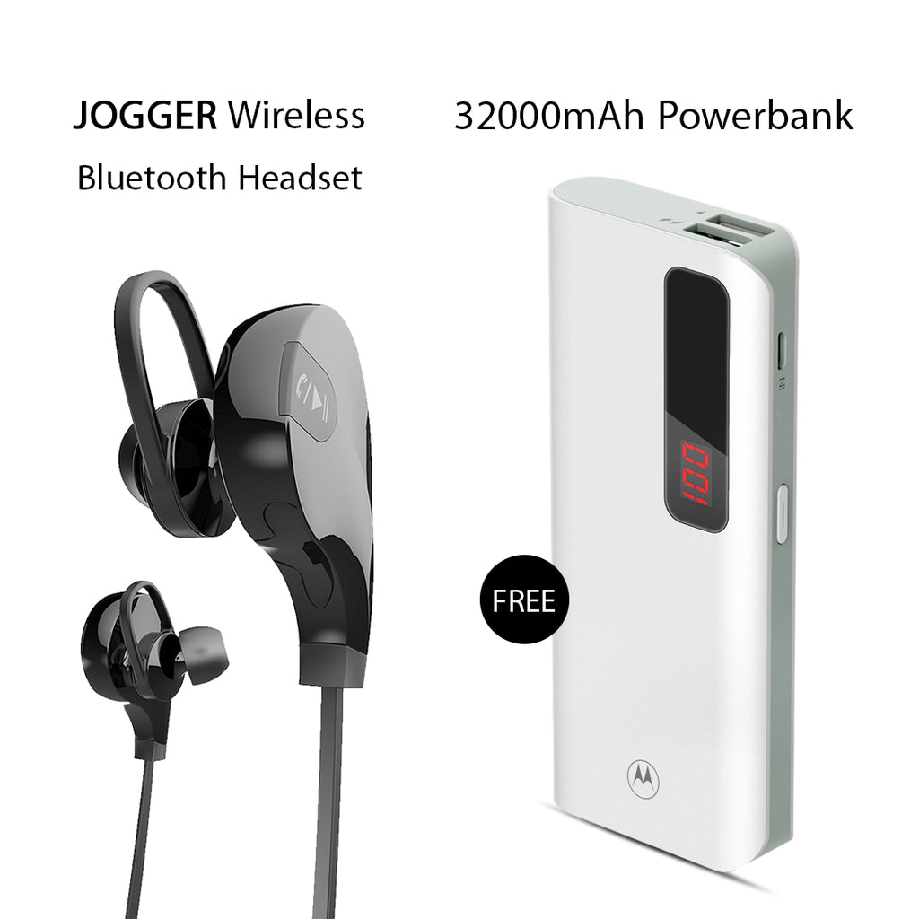 Buy Clickcases Sports JOGGER Wireless Bluetooth Headset With Free 32000mAh Motorola Power Bank