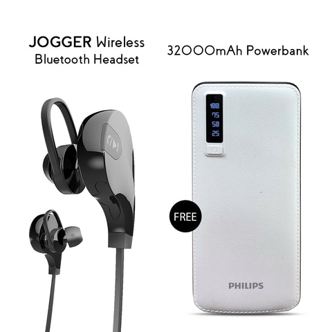 Buy Clickcases Sports JOGGER Wireless Bluetooth Headset With Free 32000mAh Power Bank