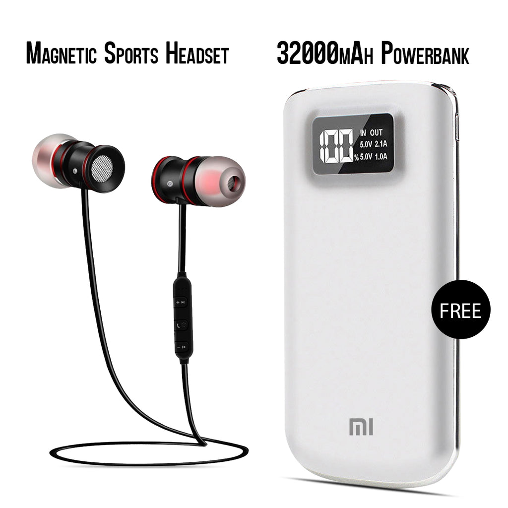 Buy Online Sports Magnet Headset And Get  32000mAh MI Power Bank Free