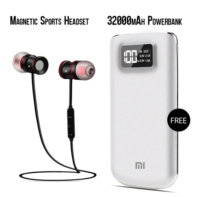 Buy Online Sports Magnet Headset And Get  32000mAh Power Bank Free