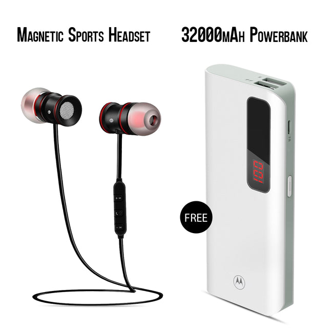 Buy Online Sports Magnet Headset & Get 32000mAh Power Bank Free