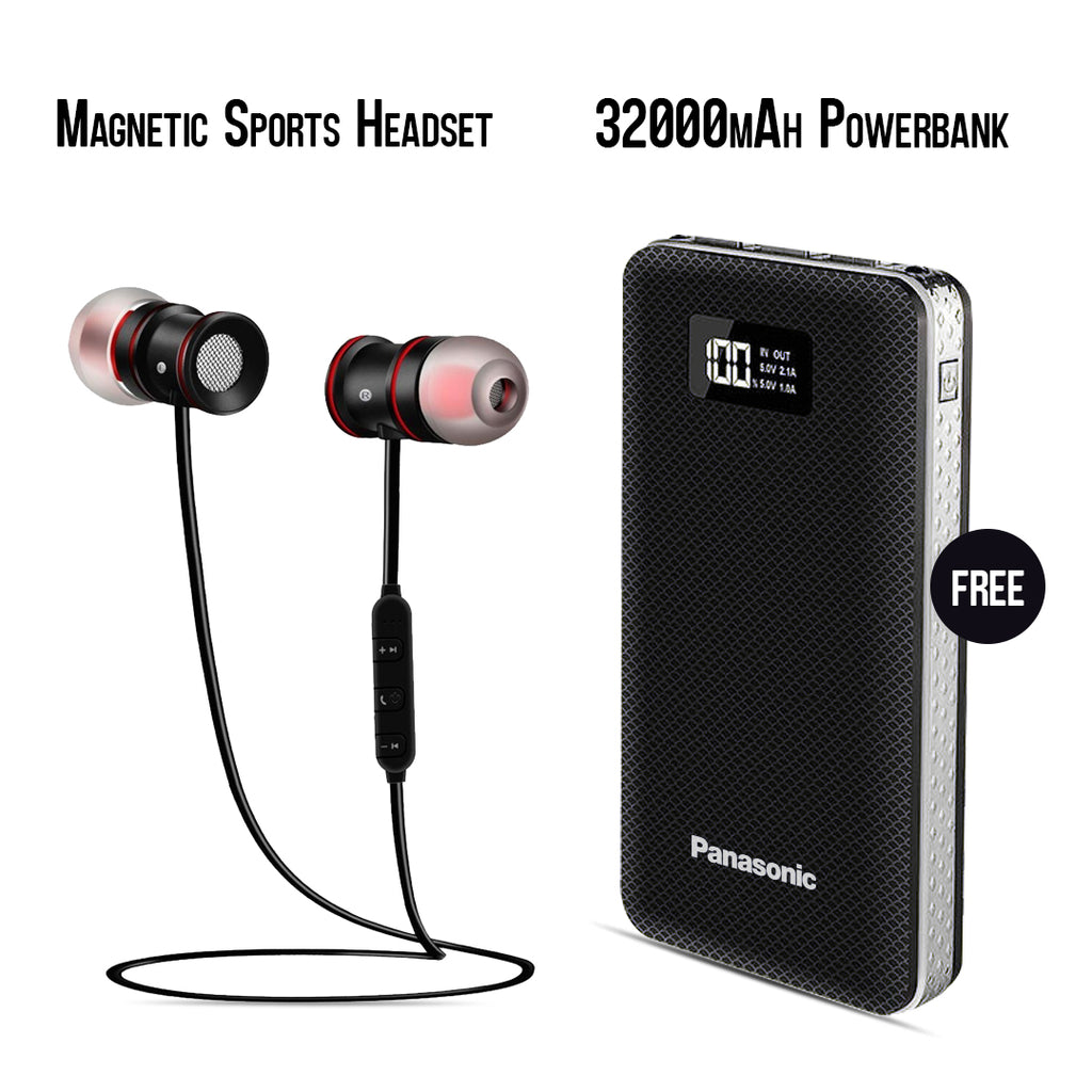 Buy Sports Magnet Headset With Free 32000mAh Panasonic Power Bank