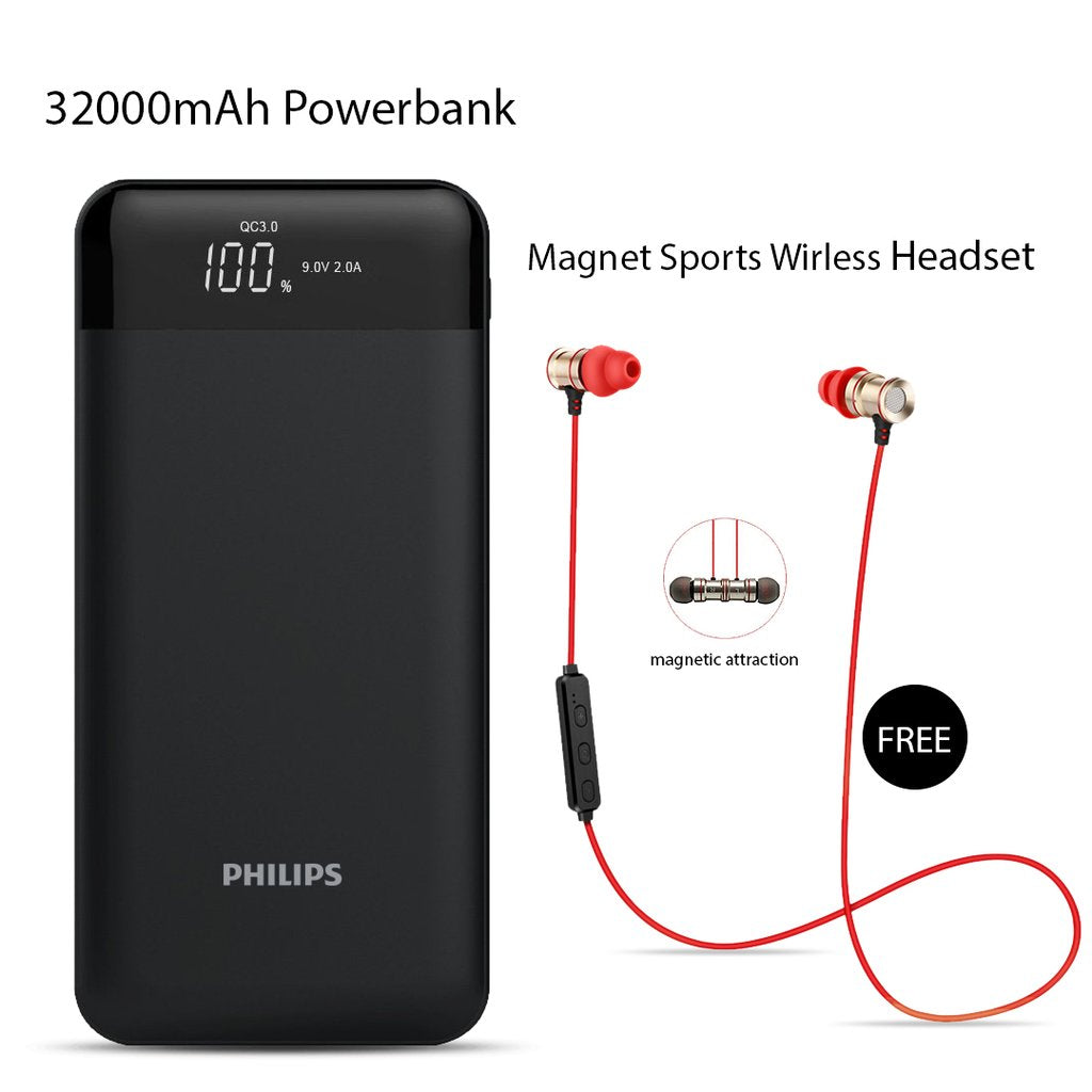 Buy Online  Philips 32000mAh Power Bank & Get  Magnet Sports Wireless Headset Free