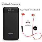 Buy Online 32000mAh Power Bank & Get  Magnet Sports Wireless Headset Free