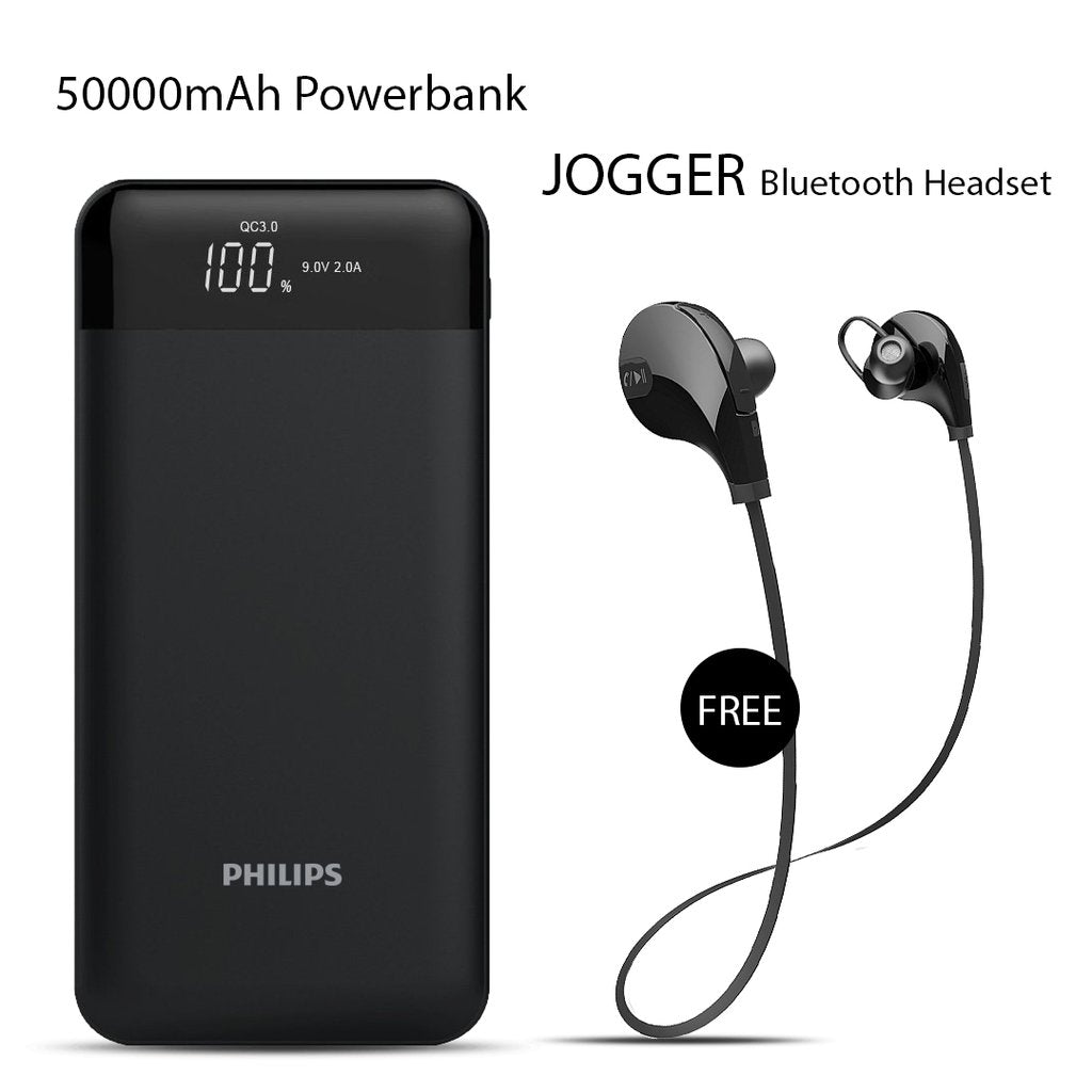 50000mAh Power Bank With Jogger Bluetooth Headset Free