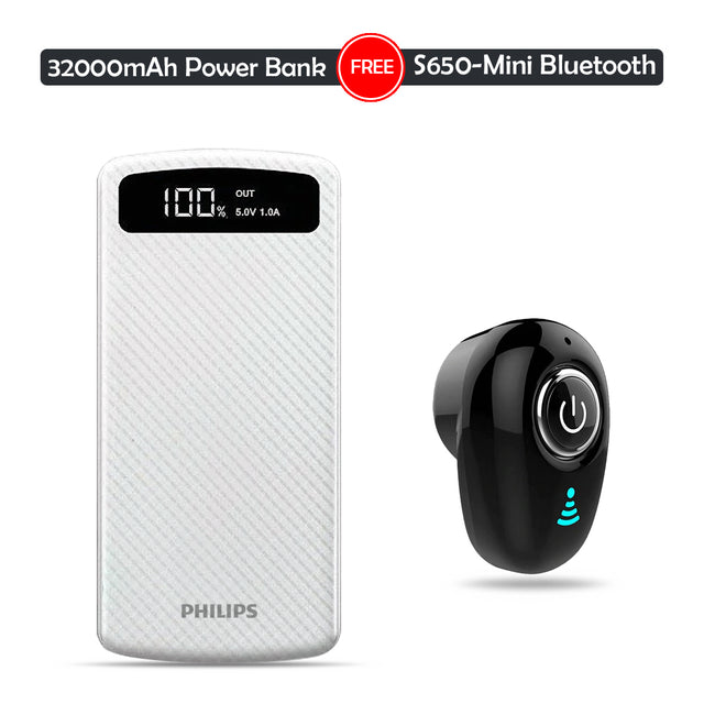 Buy 32k mAh Powerbank With Get Mini Wireless Bluetooth Headset