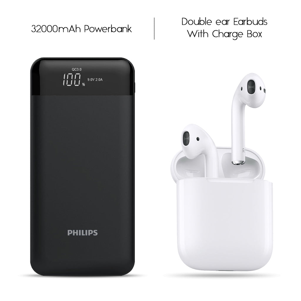 Philips 32000mAh Power Bank With Free Double Earbud Headset