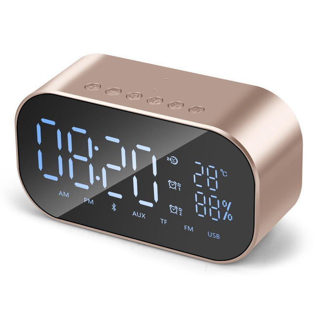 Portable Wireless Bluetooth Outdoor Speakers Alarm Clock MP3 Player