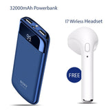 32000mAh Power Bank with Free I7 Wireless Bluetooth Headset