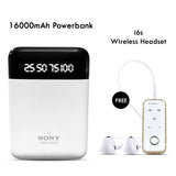 Buy Online 16000mAH Power Bank & Get I6S Bluetooth Headset Free